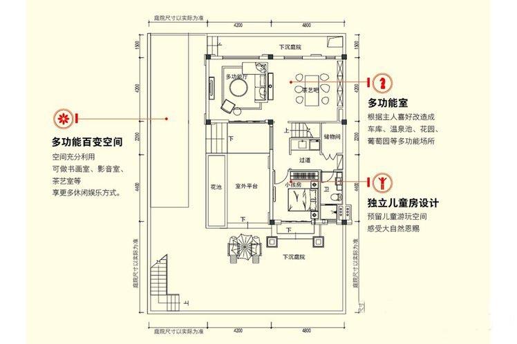 3室2厅4卫建面 约130平三层